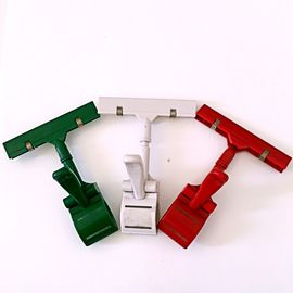 Colorful Thumb Price Tag Holder Clip , Supermarket Pop Clip In Red Green White